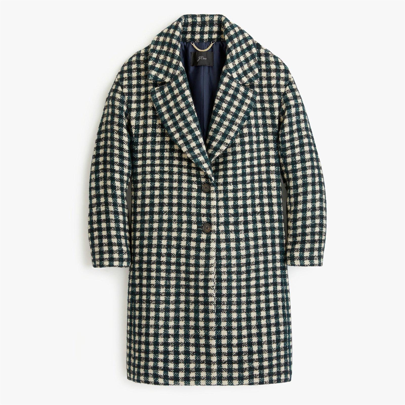 Oversized topcoat in check tweed