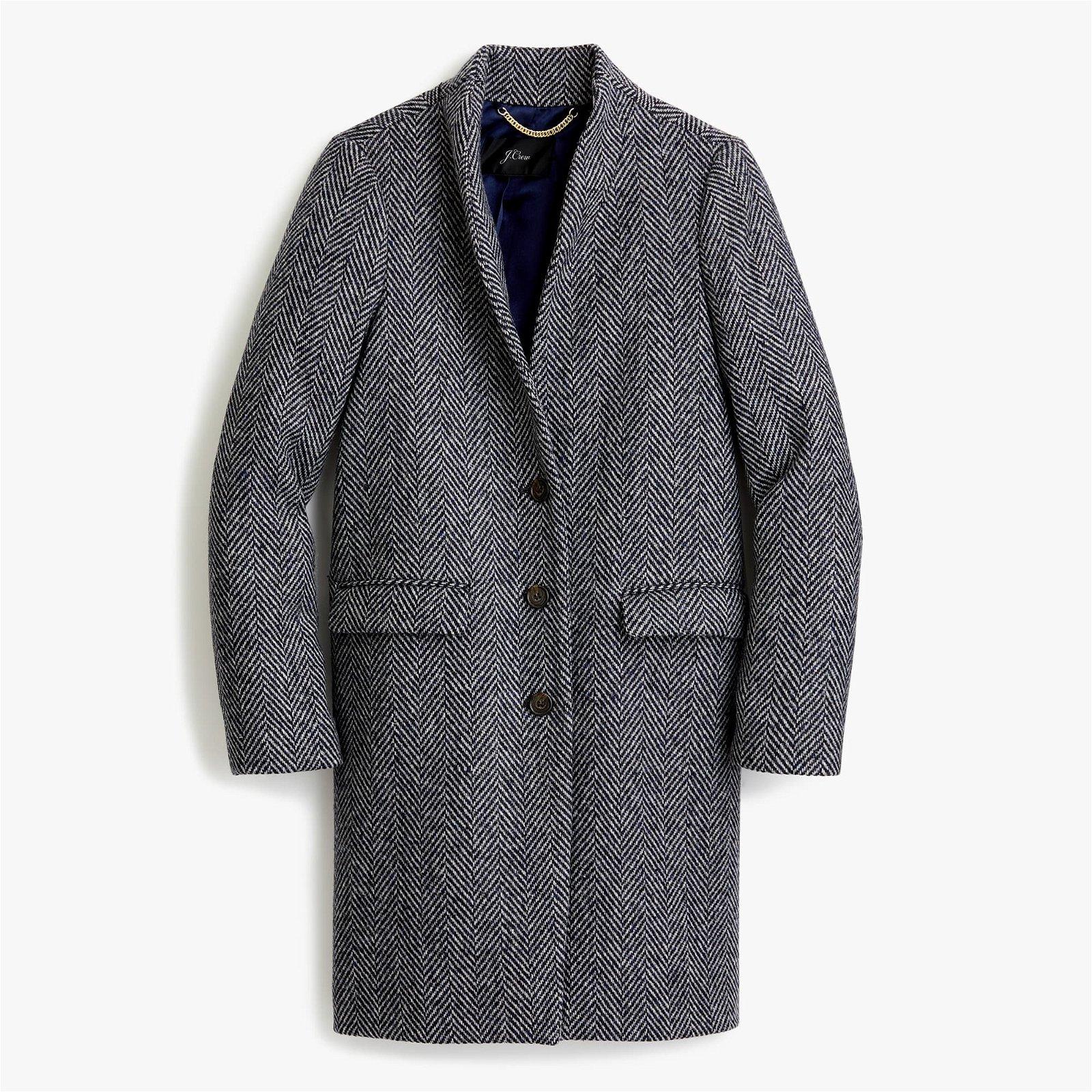 Classic Oversized topcoat in English herringbone wool