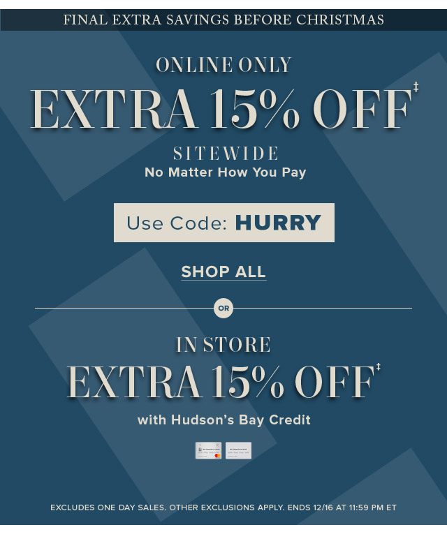 Hudson's Bay Company : TODAY ONLY: 30-50% OFF Designer