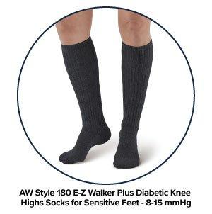 5b42847a4 AW Style 180 E-Z Walker Plus Diabetic Knee Highs Socks for Sensitive Feet