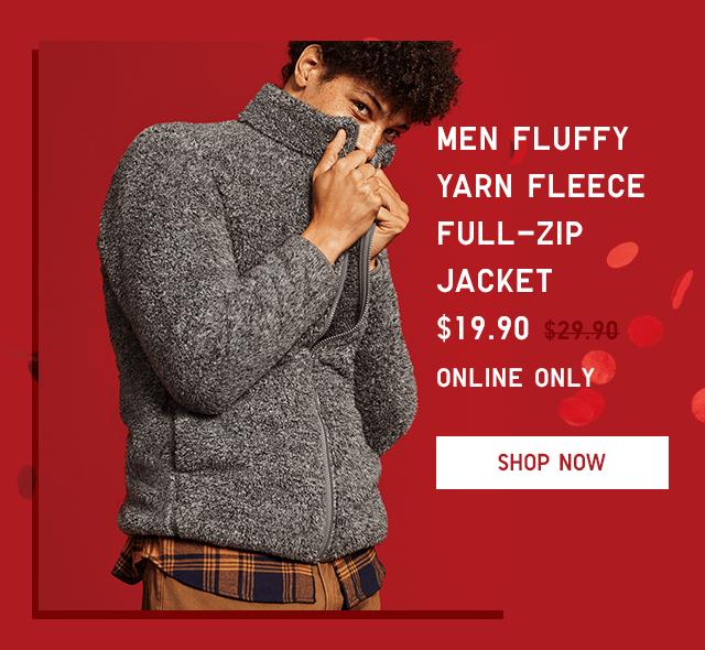 MEN FLUFFY YARN FLEECE FULL-ZIP JACKET $19.90 - SHOP NOW