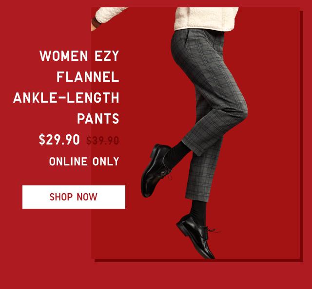 WOMEN FLANNEL ANKLE-LENGTH PANTS $29.90 - SHOP NOW
