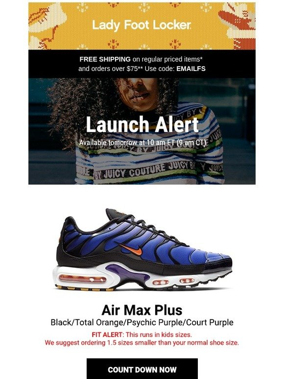 923bb8738b5c Lady Foot Locker  New release  Nike Air Max Plus – available 12.15 ...