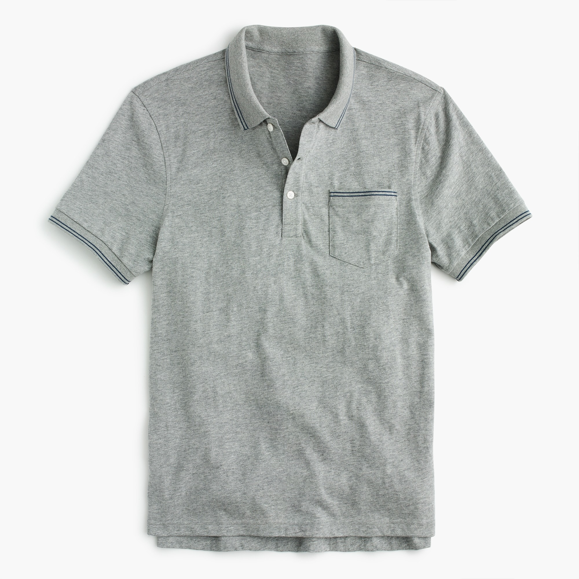 Tall slub cotton jersey polo in double-tipped grey
