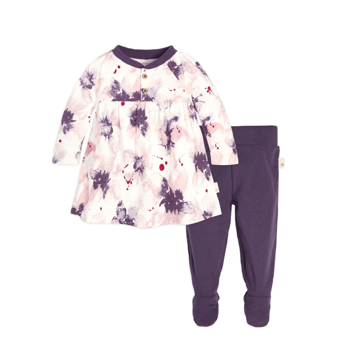 Exploded Petals Organic Baby Cotton Dress & Footed Pant Set