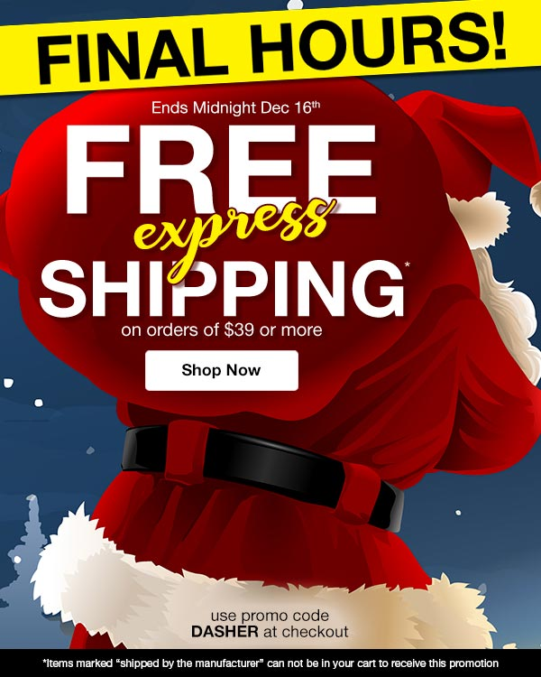 Get FREE Express Shipping on orders of $39 or more! Use promo code DASHER at checkout.