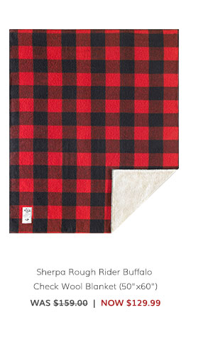 "Sherpa Rough Rider Buffalo Check Wool Blanket (50""x60"") Was: $159.00 Now: $129.99"