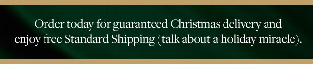 ORDER TODAY FOR GUARANTEED CHRISTMAS DELIVERY AND ENJOY FREE STANDARD SHIPPING (TALK ABOUT A HOLIDAY MIRACLE).