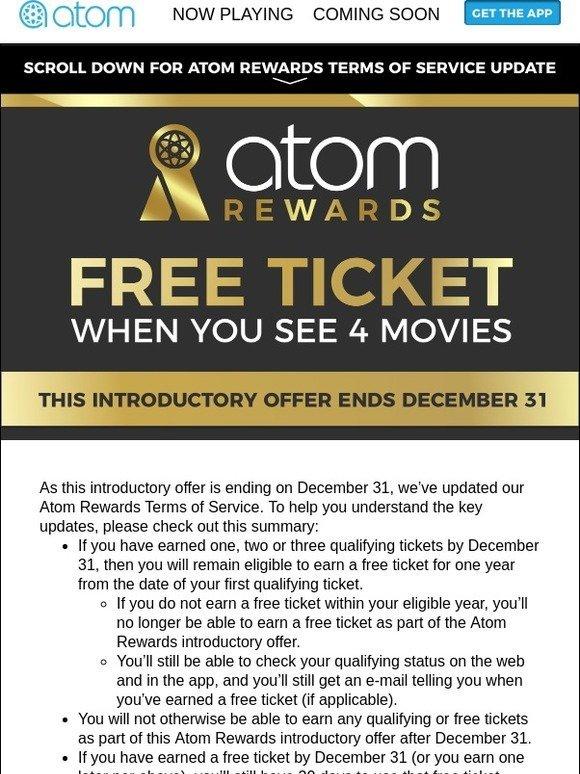 Atom Tickets: Atom Rewards Terms Update + Earn a FREE ticket