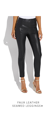 SHOP FAUX LEATHER SEAMED LEGGINGS