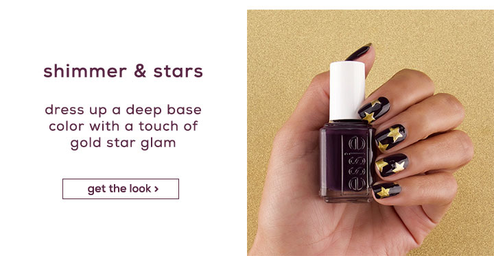 shimmer & stars - dress up a deep base color with a touch of gold star glam - get the look >