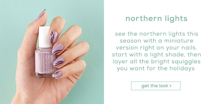northern lights - see the northern lights this season with a miniature version right on your nails. start with a light shade, then layer all the bright squiggles you want for the holidays. - get the look >