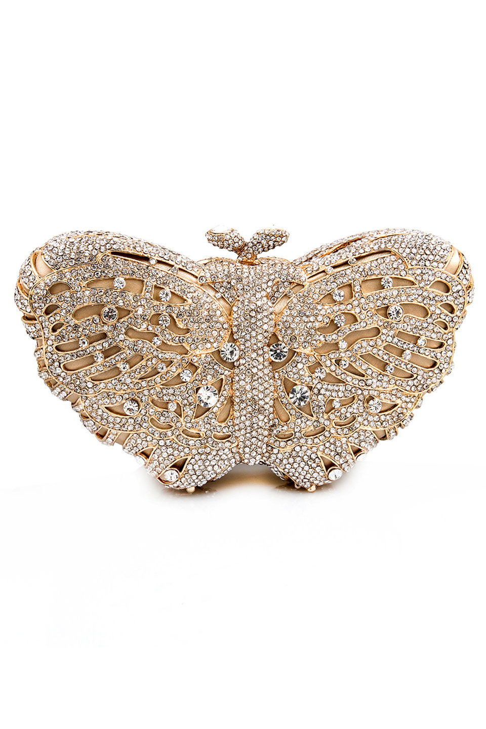 Crystal Butterfly Clutch in White