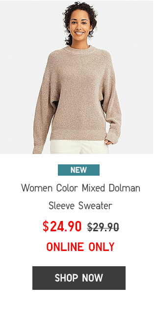 WOMEN COLOR MIXED DOLMAN SLEEVE SWEATER $24.90 - SHOP WONOW
