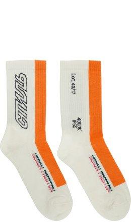 Heron Preston - White & Orange 'Style' Socks