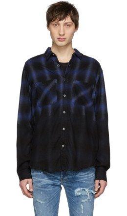 Amiri - Blue & Black 'Forever' Plaid Shirt