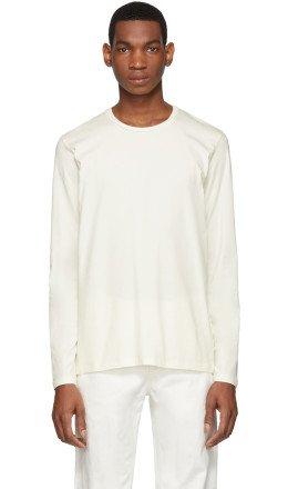 Jil Sander - Off-White Cotton Long Sleeve T-Shirt