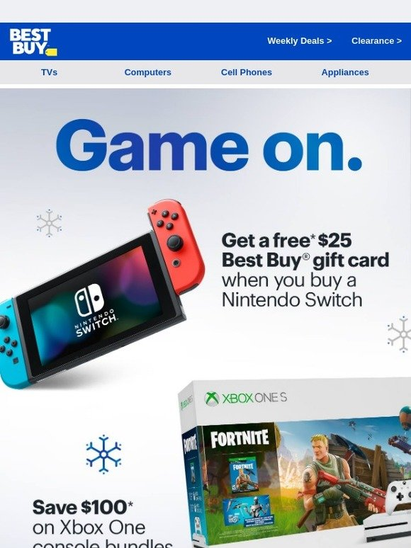 Best Buy: Elves gone wild 🎮 - $25 Gift Card with Nintendo