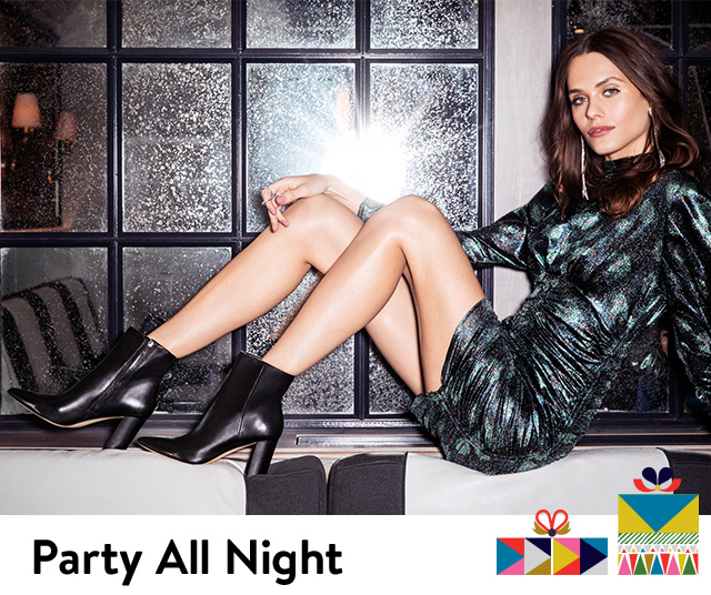 Shop booties and dresses for your holiday party.