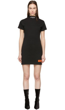 Heron Preston - Black 'Style' Mock Neck T-Shirt Dress