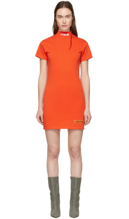 Heron Preston - Red 'Style' Mock Neck T-Shirt Dress