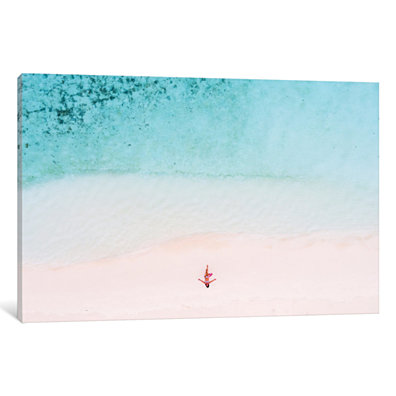 Woman Relaxing On Beach, Maldives by Matteo Colombo Canvas Print