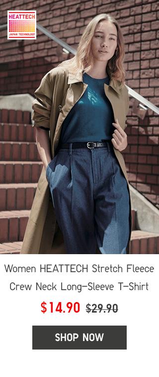 WOMEN HEATTECH STRETCH FLEECE CREW NECK LONG-SLEEVE T-SHIRT $14.90 - SHOP NOW