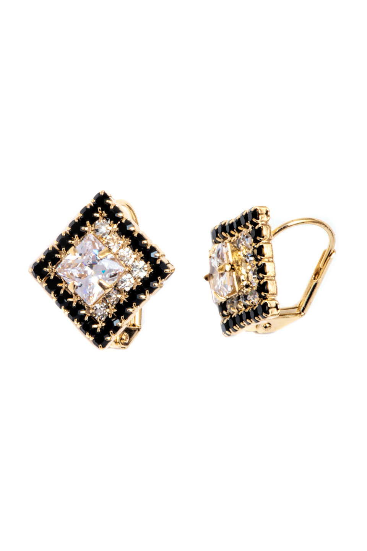 Swarovskis Diamond-Shaped Earrings in 18K Gold and Black