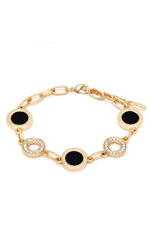 18k Gold Plated Black & White Swarovski Disc Bracelet