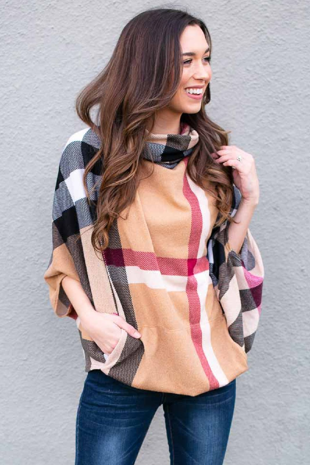 The plaid poncho for winter