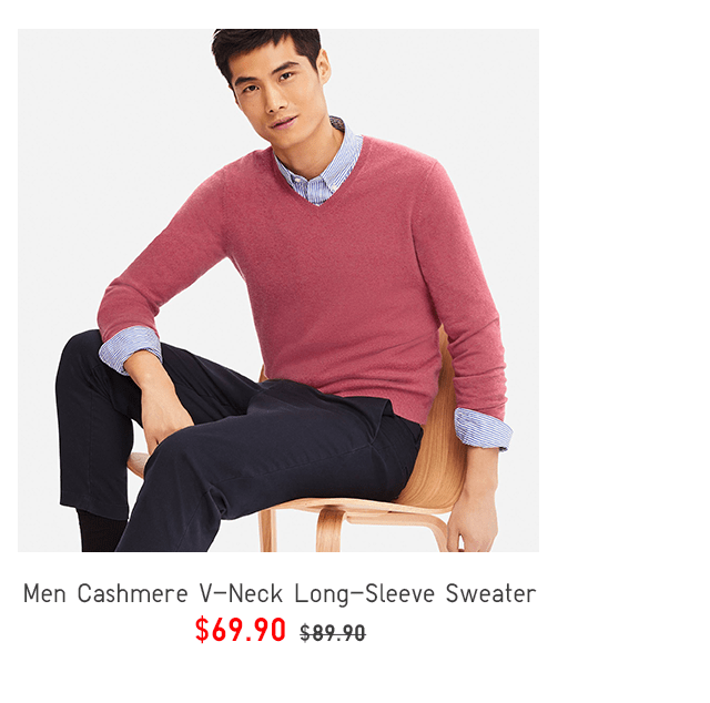 MEN CASHMERE V-NECK LONG-SLEEVE SWEATER $69.90