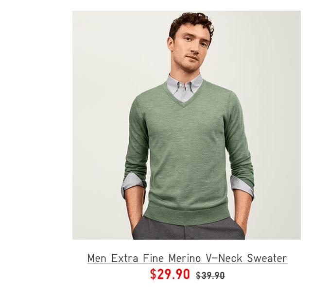 MEN EXTRA FINE MERINO V-NECK SWEATER $29.90
