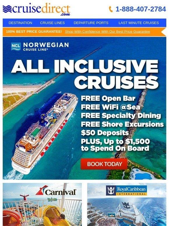 CruiseDirect: Free Open Bar + Free WiFi @Sea + Free Shore
