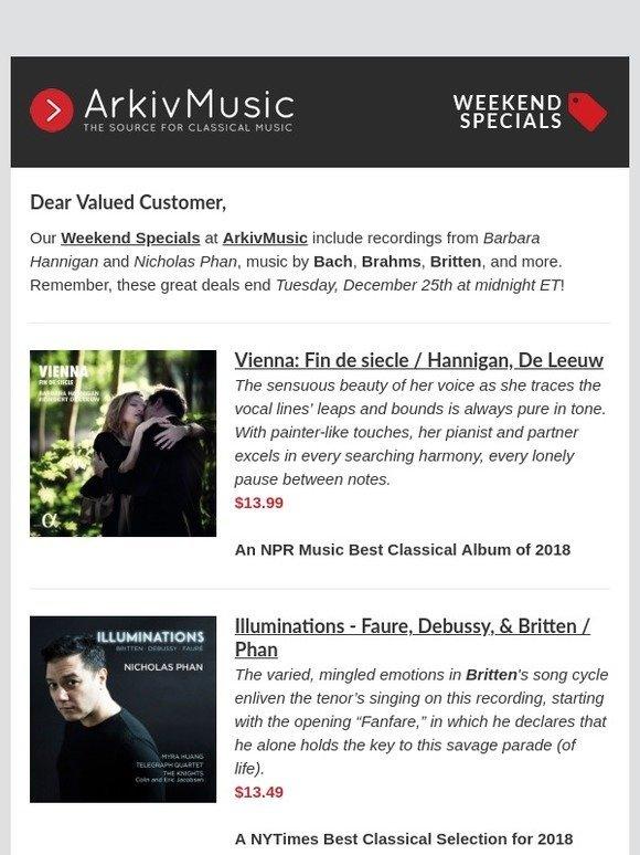 ArkivMusic: Weekend Specials at ArkivMusic - featuring