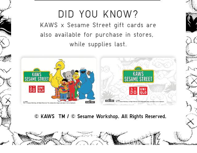 KAWS X SESAME STREET GIFT CARDS