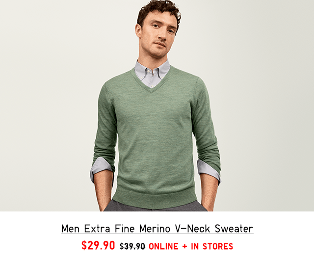 MEN EXTRA FINE MERINO V-NECK SWEATER $29.90