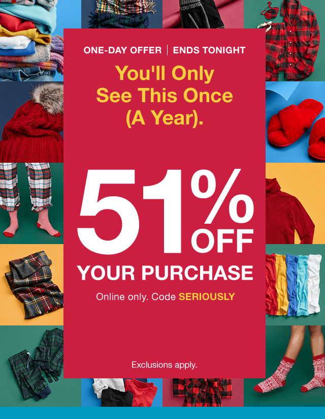51% OFF YOUR PURCHASE
