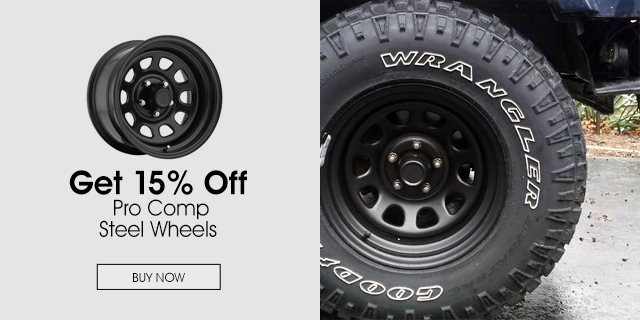 15% Off Pro Comp steel wheels