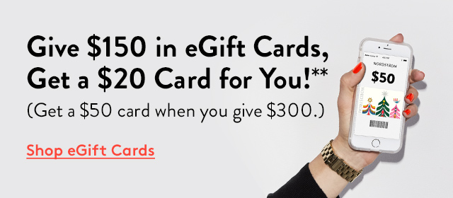 Give $150 in eGift Cards, Get a $20 Card for You!** | (Get a $50 card when you give $300.) | Shop eGift Cards