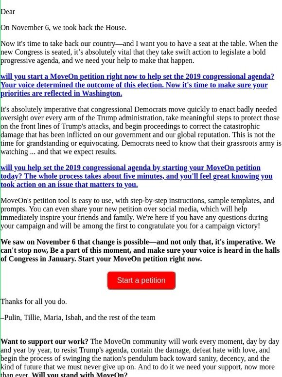 MoveOn: Start a petition to the 116th United States Congress