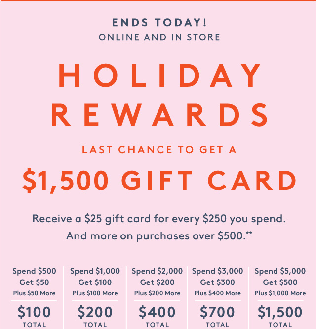 Earn Holiday Rewards to save more.