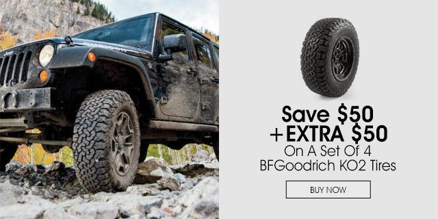 Save $50 plus an extra $50 on BF Goodrich KO2 tires