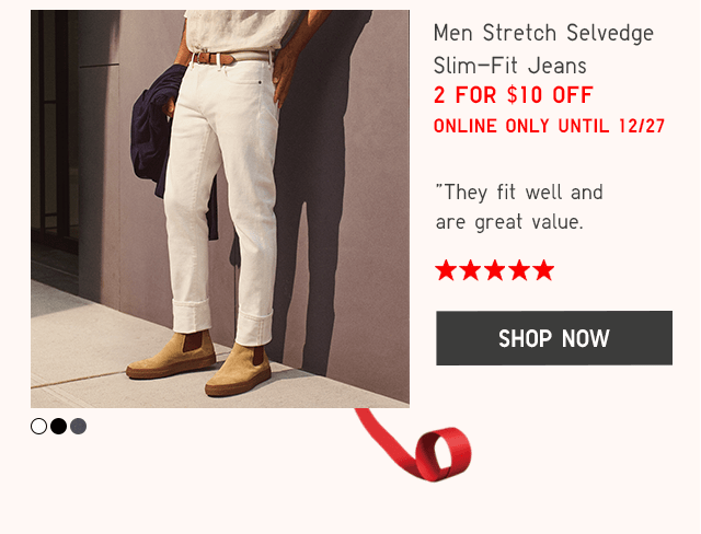 MEN STRETCH SELVEDGE SLIM-FIT JEANS - SHOP NOW