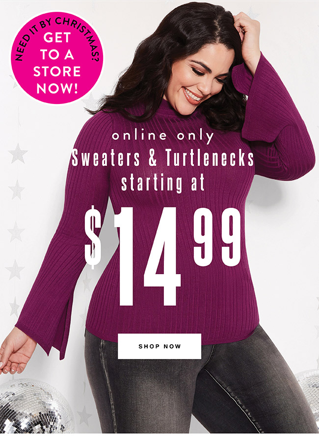 Sweater and Turtlenecks starting at $14.99 - Shop Now
