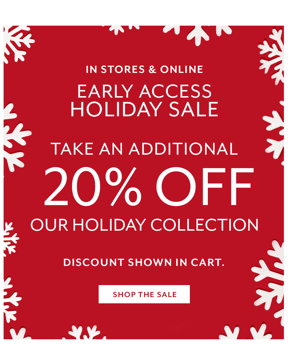 20% Off Holiday Sale