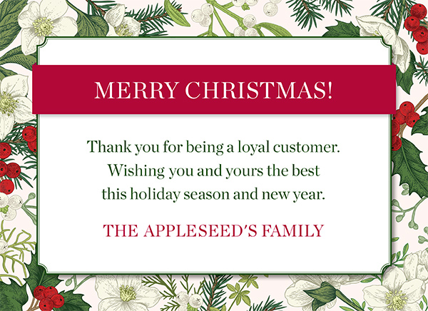 Merry Christmas! Thank you for being a great customer. Wishing you and yours the best this holiday season and new year! Shop Now!
