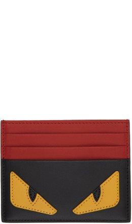 Fendi - Black & Red 'Bag Bugs' Card Holder