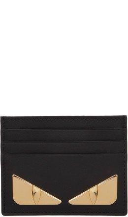 Fendi - Black & Gold 'Bag Bugs' Card Holder