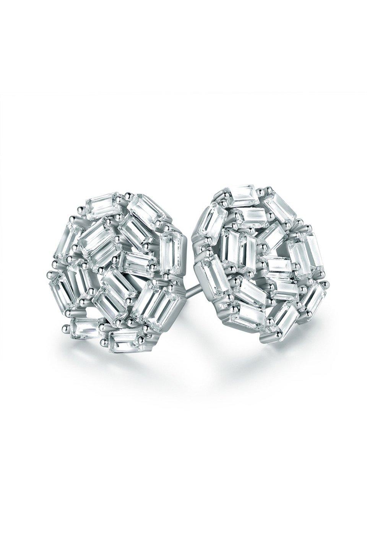 White Rhodium Plated CZ Stud Earrings