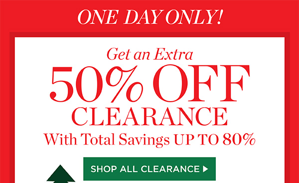 One Day Only! Get an extra 50% off clearance, with total savings up to 80%, plus $4.95 shipping. Promo code AEXTRA. Shop All Clearance.